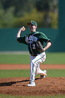 Plymouth State Panthers pitcher Nolan Flynn (27) during the first game of a doubleheader against the Edgewood Eagles on March 17, 2015 at Terry Park in Fort Myers, Florida.  Edgewood defeated Plymouth State 12-3.  (Mike Janes/Four Seam Images)