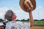 July 16, 2016:Trainer Larry Jones looks to the heavens after I'm A Chatterbox, ridden by Florent Geroux withstands a claim of objection to win The 79th Running of The Delaware Handicap (Grade I), $750,000 Guaranteed at Delaware Park.