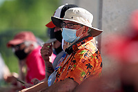 Baltimore Orioles fan wearing a mask during a Major League Spring Training game against the Philadelphia Phillies on March 12, 2021 at the Ed Smith Stadium in Sarasota, Florida.  (Mike Janes/Four Seam Images)
