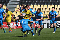 2nd May 2021; Stade Marcel-Deflandre, La Rochelle, France. European Champions Cup Rugby La Rochelle versus  Leinster Semi-Final;  Brice DULIN of Stade Rochelais tackled by Byrne of Leinster