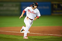 Scottsdale Scorpions Scott Kingery (6), of the Philadelphia Phillies organization, during a game against the Salt River Rafters on October 20, 2016 at Scottsdale Stadium in Scottsdale, Arizona.  Scottsdale defeated Salt River 4-1.  (Mike Janes/Four Seam Images)