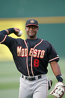 July 22 2007: Chris Nelson of the Modesto Nuts before game against the Rancho Cucamonga Quakes at The Epicenter in Rancho Cucamonga,CA.  Photo by Larry Goren/Four Seam Images