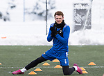 St Johnstone Training…<br />James Brown pictured trying to warm his hands during a very cold training ahead of Sundays game against Celtic.<br />Picture by Graeme Hart.<br />Copyright Perthshire Picture Agency<br />Tel: 01738 623350  Mobile: 07990 594431