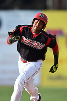 Batavia Muckdogs outfielder Wildert Pujols (38) running the bases during a game against the Auburn Doubledays on August 31, 2014 at Dwyer Stadium in Batavia, New York.  Batavia defeated Auburn 7-6.  (Mike Janes/Four Seam Images)