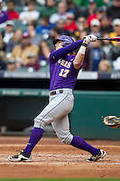 LSU Tigers outfielder Jared Foster (17) follows through on his swing during the NCAA baseball game against the Baylor Bears on March 7, 2015 in the Houston College Classic at Minute Maid Park in Houston, Texas. LSU defeated Baylor 2-0. (Andrew Woolley/Four Seam Images)