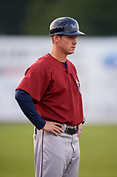 Mahoning Valley Scrappers manager Luke Carlin (11) during a game against the Batavia Muckdogs on August 30, 2017 at Dwyer Stadium in Batavia, New York.  Batavia defeated Mahoning Valley 5-1.  (Mike Janes/Four Seam Images)