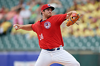 Buffalo Bisons starting pitcher Joe Biagini (34) delivers a pitch during a game against the Indianapolis Indians on August 17, 2017 at Coca-Cola Field in Buffalo, New York.  Buffalo defeated Indianapolis 4-1.  (Mike Janes/Four Seam Images)