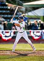 29 May 2021: Vermont Lake Monsters outfielder Peter Dudunakis, from Seattle, WA, at bat against the Norwich Sea Unicorns at Centennial Field in Burlington, Vermont. The Lake Monsters defeated the Unicorns 6-3 in their FCBL Home Opener, the first home game played at Centennial Field post-Covid-19 pandemic. Mandatory Credit: Ed Wolfstein Photo *** RAW (NEF) Image File Available ***