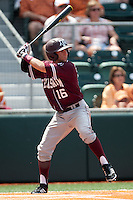 Texas A&M Aggies shortstop Mikey Reynolds #16 at bat during the NCAA baseball game against the Texas Longhorns on April 28, 2012 at UFCU Disch-Falk Field in Austin, Texas. The Aggies beat the Longhorns 12-4. (Andrew Woolley / Four Seam Images)..