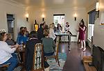 Designer Olivia Osborne, right, speaks during Reno Magazine's Home Decor Workshop at Aspen Leaf Interiors Studio in Reno on Saturday, March 24, 2018.