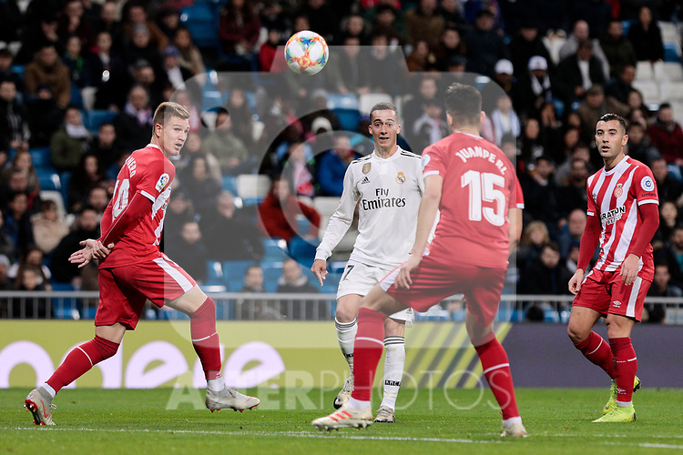 Real Madrid's Lucas Vazquez and Girona FC's Juanpe Ramirez during Copa del Rey match between Real Madrid and Girona FC at Santiago Bernabeu Stadium in Madrid, Spain. January 24, 2019. (ALTERPHOTOS/A. Perez Meca)