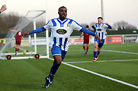 Alex Akrofi of Aveley celebrates scoring the second goal during Aveley vs Chelmsford City, Buildbase FA Trophy Football at Parkside on 8th February 2020