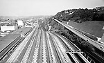 Pittsburgh PA:  View of the strip district and construction on Bigelow Boulevard from the roof of the Pennsylvania Railroad Pittsburgh's Penn Station.