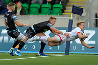 Saturday 14th September 2019 | Glasgow vs Ulster  <br /> <br /> Rob Lyttle scores the second try for Ulster during the second pre-season friendly between Ulster and Glasgow at Scotstoun Stadium, Glasgow, Scotland. Photo by John Dickson / DICKSONDIGITAL