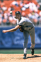 Randy Johnson of the Arizona Diamondbacks pitches during a 1999 season Major League Baseball game against the Los Angeles Dodgers at Dodger Stadium in Los Angeles, California. (Larry Goren/Four Seam Images)