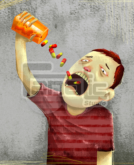 Man pouring medicines from container into mouth representing drug abuse