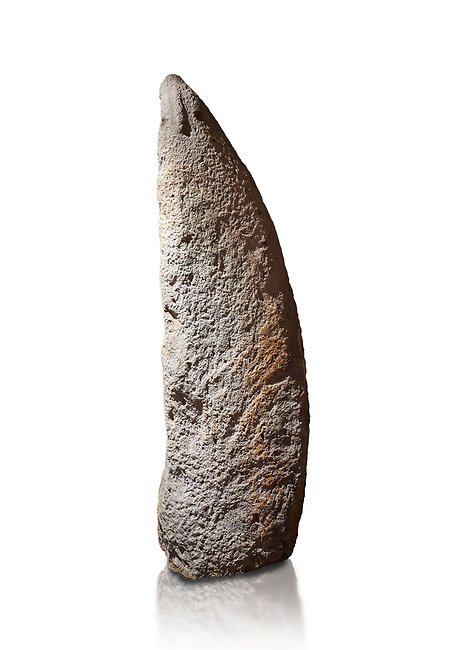 Late European Neolithic prehistoric Menhir standing stone with carvings on its face side. The representation of a stylalised male figure starts at the top with a long nose from which 2 eyebrows arch around the top of the stone. below this is a carving of a falling figure with head at the bottom and 2 curved arms encircling a body above. at the bottom is a carving of a dagger running horizontally across the menhir. Excavated from Perida Iddocca VII site,  Laconi.  Menhir Museum, Museo della Statuaria Prehistorica in Sardegna, Museum of Prehoistoric Sardinian Statues, Palazzo Aymerich, Laconi, Sardinia, Italy. White background.