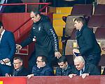 07.04.2019 Motherwell v Rangers: Steven Gerrard away for his half time bovril
