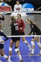 Omaha, NE - DECEMBER 20:  Libero Gabi Ailes #9 and defensive specialist Jessica Fishburn #11 of the Stanford Cardinal during Stanford's 20-25, 24-26, 23-25 loss against the Penn State Nittany Lions in the 2008 NCAA Division I Women's Volleyball Final Four Championship match on December 20, 2008 at the Qwest Center in Omaha, Nebraska.