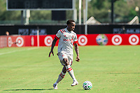 LAKE BUENA VISTA, FL - JULY 13: Richie Laryea #22 of Toronto FC kicks the ball during a game between D.C. United and Toronto FC at Wide World of Sports on July 13, 2020 in Lake Buena Vista, Florida.