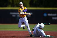 Connor Norby (1) of the East Carolina Pirates follows through on a throw to first base as Rafi Vazquez (36) of the Charlotte 49ers slides into second base at Hayes Stadium on March 8, 2020 in Charlotte, North Carolina. The Pirates defeated the 49ers 4-1. (Brian Westerholt/Four Seam Images)