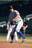 Surprise Saguaros pitcher Cody Kendall (31) during an Arizona Fall League game against the Mesa Solar Sox on October 17, 2014 at Cubs Park in Mesa, Arizona.  Mesa defeated Mesa 5-3.  (Mike Janes/Four Seam Images)