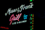 Sign for Musso and Frank Grill on Hollywood Blvd.