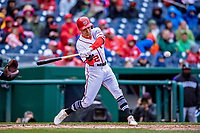 15 April 2018: Washington Nationals shortstop Trea Turner in action against the Colorado Rockies at Nationals Park in Washington, DC. All MLB players wore Number 42 to commemorate the life of Jackie Robinson and to celebrate Black Heritage Day in pro baseball. The Rockies edged out the Nationals 6-5 to take the final game of their 4-game series. Mandatory Credit: Ed Wolfstein Photo *** RAW (NEF) Image File Available ***