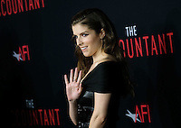Anna Kendrick @ the premiere of 'The Accountant' held @ the Chinese theatre in Hollywood, USA, October 10, 2016. # 'THE ACCOUNTANT' PREMIERE IN HOLLYWOOD