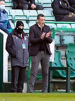 21st April 2021; Easter Road, Edinburgh, Scotland; Scottish Premiership Football, Hibernian versus Livingston; Jack Ross Hibernian Manager applauds his team from the touchline