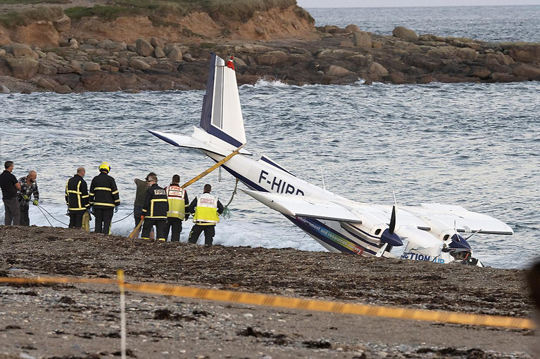 The wreckage of the plane crash-landed at the water's edge on the beach at Carnsore Point on Thursday evening.