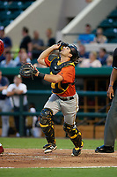 Bradenton Marauders catcher Christian Kelley (7) tracks a popup during the Florida State League All-Star Game on June 17, 2017 at Joker Marchant Stadium in Lakeland, Florida.  FSL North All-Stars defeated the FSL South All-Stars  5-2.  (Mike Janes/Four Seam Images)