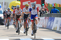22nd April 2021;  Cycling Tour des Alpes Stage 4, Naturns/Naturno to Pieve di Bono, Italy on 22nd; From left, third, Nicolas Prodhomme AG2R Citroën Team, Luis Leon Sanchez Astana - Premier Tech and Thibaut Pinot Groupama-FDJ