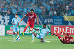 Shanghai FC Midfielder Akhmedov Odil (L) trips up with Jiangsu FC Midfielder Ramires Santos (C) during the AFC Champions League 2017 Round of 16 match between Jiangsu FC (CHN) vs Shanghai SIPG FC (CHN) at the Nanjing Olympic Stadium on 31 May 2017 in Nanjing, China. Photo by Marcio Rodrigo Machado / Power Sport Images