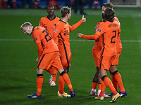 Football: Uefa Nations League Group A match Italy vs Netherlands at Gewiss stadium in Bergamo, on October 14, 2020.<br /> Netherlands' Luuk de Jong (l) celebrates after scoring with his teammates during the Uefa Nations League match between Italy and Netherlands at Gewiss stadium in Bergamo, on October 14, 2020. <br /> UPDATE IMAGES PRESS/Isabella Bonotto
