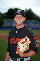 Aberdeen Ironbirds relief pitcher Steven Klimek (28) poses for a photo before a game against the Batavia Muckdogs on July 16, 2016 at Dwyer Stadium in Batavia, New York.  Aberdeen defeated Batavia 9-0. (Mike Janes/Four Seam Images)