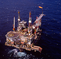 North Sea oil production platform. Aerial.