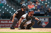 Sam Houston State Bearkats catcher Jordan Cannon (25) sets a target as home plate umpire Ryan Morehead looks on during the game against the Vanderbilt Commodores in game one of the 2018 Shriners Hospitals for Children College Classic at Minute Maid Park on March 2, 2018 in Houston, Texas. The Bearkats walked-off the Commodores 7-6 in 10 innings.   (Brian Westerholt/Four Seam Images)