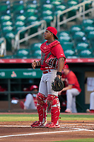 Palm Beach Cardinals catcher Roblin Heredia (29) during a game against the Jupiter Hammerheads on May 11, 2021 at Roger Dean Chevrolet Stadium in Jupiter, Florida.  (Mike Janes/Four Seam Images)