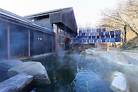 Hoshinoya Karuizawa luxury resort at the foot of Mt. Asam. MIneral baths and spa.