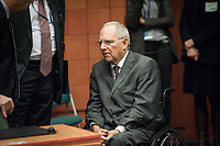 Wolfgang Schauble, German Federal Minister of Finance   at the start of a Eurogroup with European Finance Ministers meeting at EU council headquarters in Brussels, Belgium on 26.01.2015 The Eurogroup's meeting focus on Greece, after  leftist anti-bailout party SYRIZA won parliamentary elections by Wiktor Dabkowski