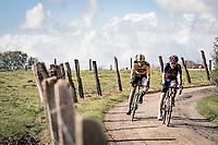 Michal Kwiatkowski (POL/Ineos Grenadiers) & Maarten Wynants (BEL/Jumbo-Visma) over the Plugstreets<br /> <br /> 82nd Gent-Wevelgem in Flanders Fields 2020 (1.UWT)<br /> 1 day race from Ieper to Wevelgem (232km)<br /> <br /> ©kramon