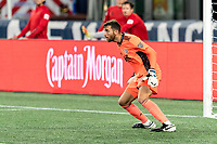 FOXBOROUGH, MA - AUGUST 29: Matt Turner #30 of New England Revolution anticipates a shot during a game between New York Red Bulls and New England Revolution at Gillette Stadium on August 29, 2020 in Foxborough, Massachusetts.