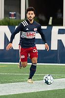 FOXBOROUGH, MA - OCTOBER 16: Ryan Spaulding #34 of New England Revolution II during a game between North Texas SC and New England Revolution II at Gillette Stadium on October 16, 2020 in Foxborough, Massachusetts.