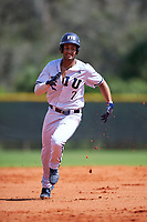 FIU Panthers shortstop John Rodriguez (7) running the bases during a game against the South Dakota State Jackrabbits on February 23, 2019 at North Charlotte Regional Park in Port Charlotte, Florida.  South Dakota defeated FIU 4-3.  (Mike Janes/Four Seam Images)