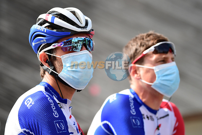 Thibaut Pinot (FRA) Groupama-FDJ at sign on before the start of Stage 5 of Criterium du Dauphine 2020, running 153.5km from Megeve to Megeve, France. 16th August 2020.<br /> Picture: ASO/Alex Broadway   Cyclefile<br /> All photos usage must carry mandatory copyright credit (© Cyclefile   ASO/Alex Broadway)