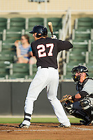 Trey Michalczewski (27) of the Kannapolis Intimidators at bat against the Delmarva Shorebirds at CMC-NorthEast Stadium on July 1, 2014 in Kannapolis, North Carolina.  The Intimidators defeated the Shorebirds 5-2. (Brian Westerholt/Four Seam Images)
