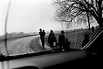 An Old Order Amish family walks to church on Easter Sunday, Washington County, 2005