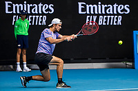 11th February 2021, Melbourne, Victoria, Australia; Tomas Machac of the Czech Republic returns the ball during round 2 of the 2021 Australian Open on February 11 2020, at Melbourne Park in Melbourne, Australia.