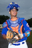 Kingsport Mets catcher Dionis Rodriguez (12) poses for a photo prior to the game against the Elizabethton Twins at Hunter Wright Stadium on July 8, 2015 in Kingsport, Tennessee.  The Mets defeated the Twins 8-2. (Brian Westerholt/Four Seam Images)